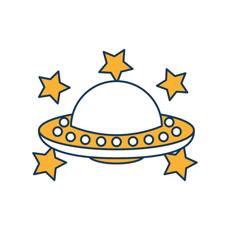 unidentified flying object with stars vector illustration design