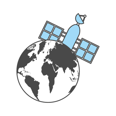 人工衛星の惑星地球ベクトル イラスト デザイン  イラスト・ベクター素材