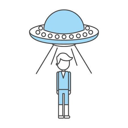 niet-geïdentificeerde vliegende voorwerp ontvoering persoon vector illustratie ontwerp