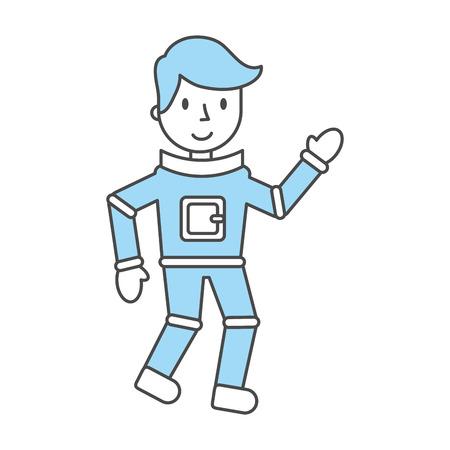 card suits symbol: astronaut comic character icon vector illustration design Illustration
