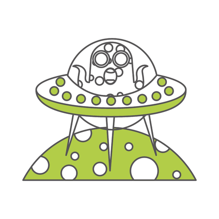 unidentified flying object on planet icon vector illustration design