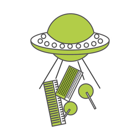 unidentified flying object: unidentified flying object abducting city vector illustration design Illustration