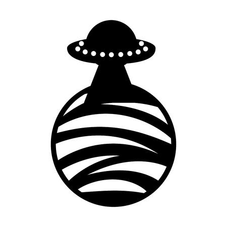 onbekend vliegende voorwerp op planeet icoon vector illustratie ontwerp