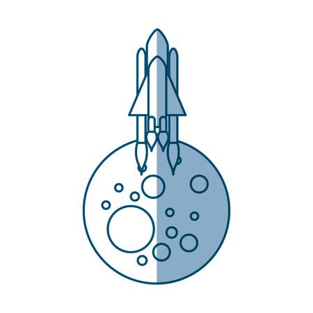 launcher: Natural satellite moon with rocket vector illustration design Illustration