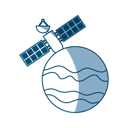 artificial satellite on planet vector illustration design