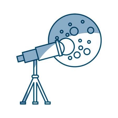 Telescoop waargenomen de maan vector illustratie ontwerp Stock Illustratie