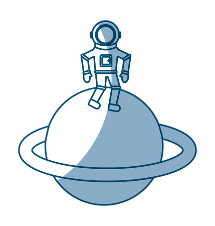 spacesuit: astronaut in saturn comic character icon vector illustration design Illustration