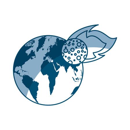 世界地球隕石ベクトル イラスト デザインと