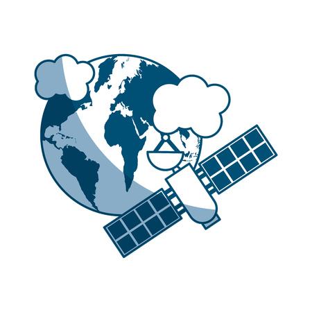 artificial satellite on planet earth vector illustration design