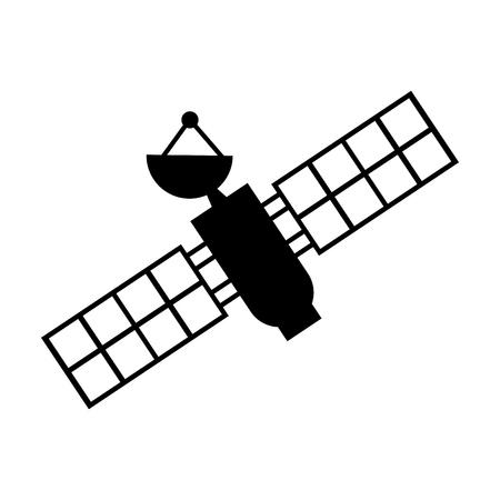 Kunstmatige satelliet ruimtelijk pictogram vector illustratie ontwerp