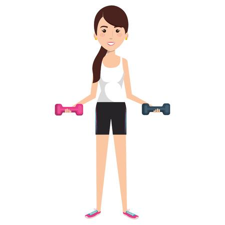 Frau Gewichtheben mit Sportbekleidung Vektor-Illustration-design Standard-Bild - 80263386
