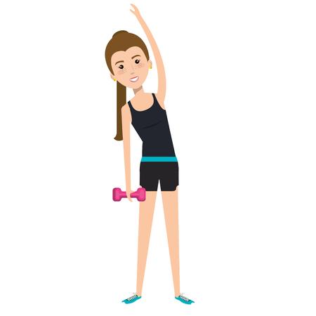 Frau Gewichtheben mit Sport Tasche Vektor-Illustration Design Standard-Bild - 80263408