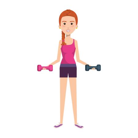 スポーツ摩耗ベクトル イラスト デザインの女性重量挙げ