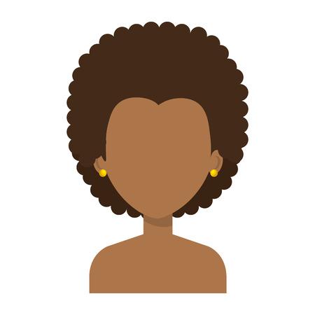 Schwarze junge Frau shirtless avatar Zeichen Vektor-Illustration Design Standard-Bild - 80263645
