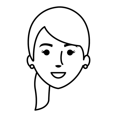 highschool: beautiful and young woman head character vector illustration design