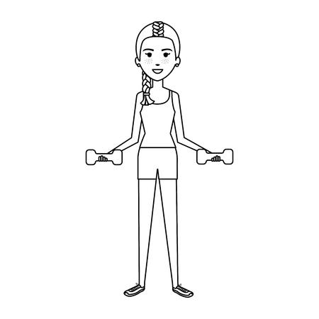 Frau Gewichtheben mit Sportbekleidung Vektor-Illustration-design Standard-Bild - 80267506