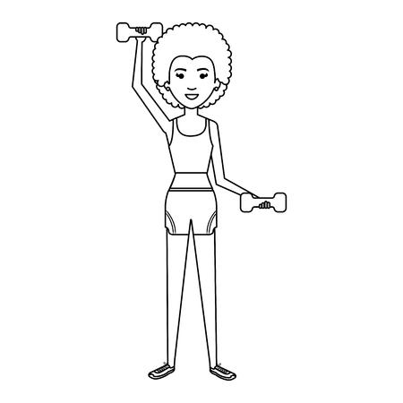 Frau Gewichtheben mit Sportbekleidung Vektor-Illustration-design Standard-Bild - 80267504