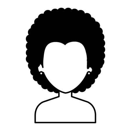 Noir jeune femme torse nu avatar caractère conception vecteur illustration Banque d'images - 80265130
