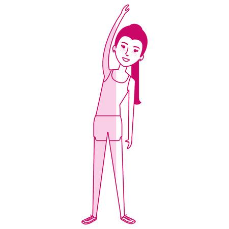 Woman doing aerobics with sport wear vector illustration design Illusztráció