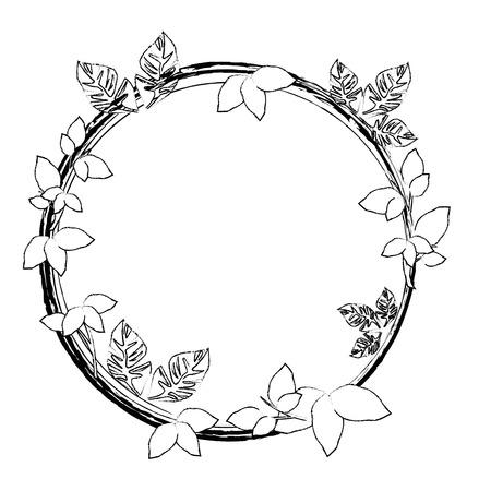 Ronde frame met bloemen pictogram vector illustratie grafisch ontwerp Vector Illustratie