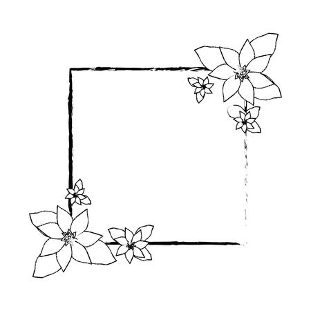 꽃 아이콘 벡터 일러스트와 함께 프레임 그래픽 디자인 일러스트