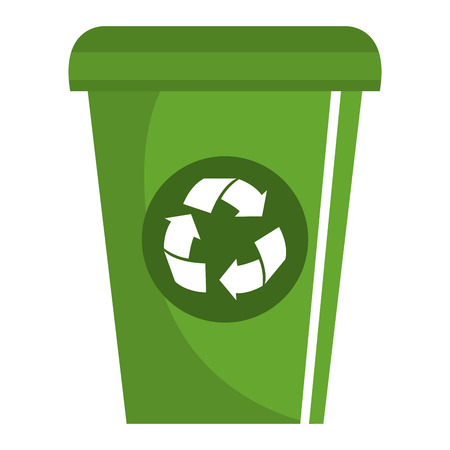 dumpster: Ecology recycle bin isolated icon vector illustration design. Illustration