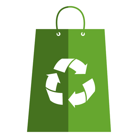 A shopping bag with recycle symbol vector illustration design.