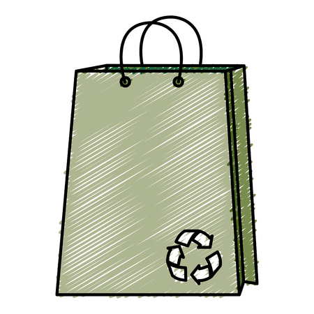 shopping bag with recycle symbol vector illustration design Illustration