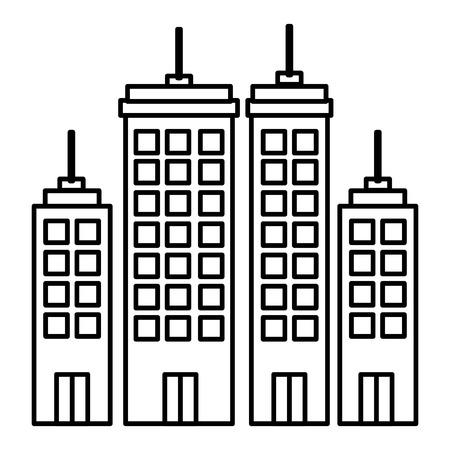 Edifici paesaggio urbano isolato icona illustrazione vettoriale di progettazione Archivio Fotografico - 80329814