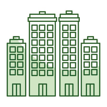 Edifici paesaggio urbano isolato icona illustrazione vettoriale di progettazione Archivio Fotografico - 80337311