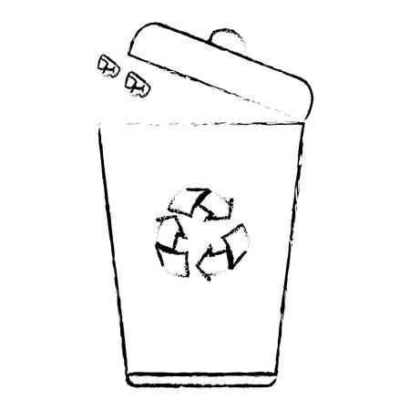 생태학 휴지통 격리 된 아이콘 벡터 일러스트 레이 션 디자인