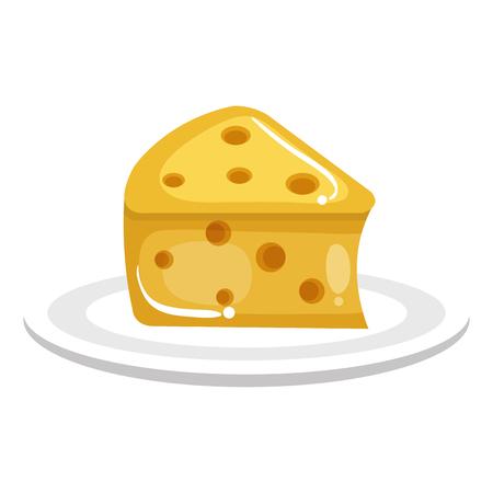 신선한 치즈 조각 아이콘 벡터 일러스트 레이 션 디자인 스톡 콘텐츠 - 80333247