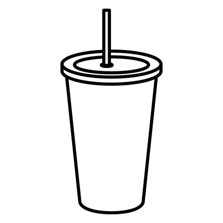Soda drink in plastic cup vector illustration design