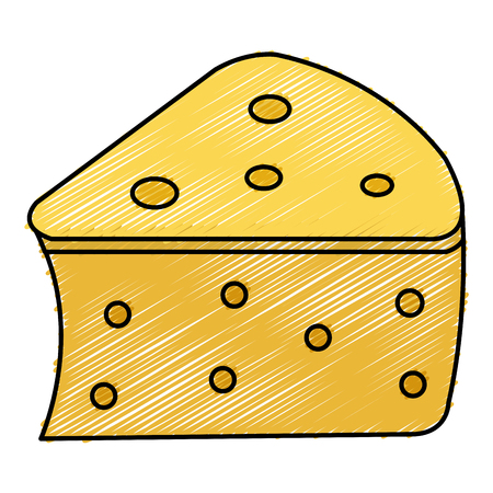 신선한 치즈 조각 아이콘 벡터 일러스트 디자인