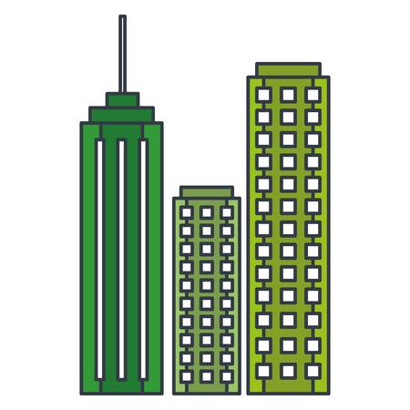 Edifici paesaggio urbano isolato icona illustrazione vettoriale di progettazione Archivio Fotografico - 80406146