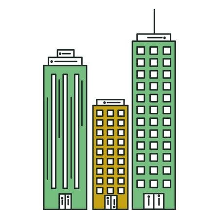 Edifici paesaggio urbano isolato icona illustrazione vettoriale di progettazione Archivio Fotografico - 80407178