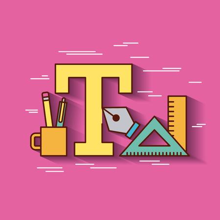 Geometric instruments school icon vector illustration design graphic Illustration