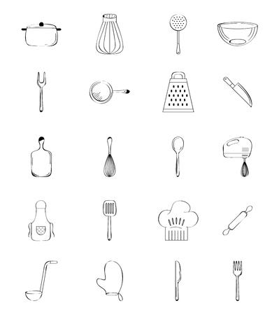 Pictogrammen geplaatst het koken grafische ontwerp van lessen grafische.