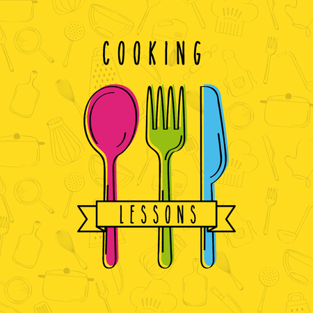 Cooking lessons flat icon vector illustration design graphic.