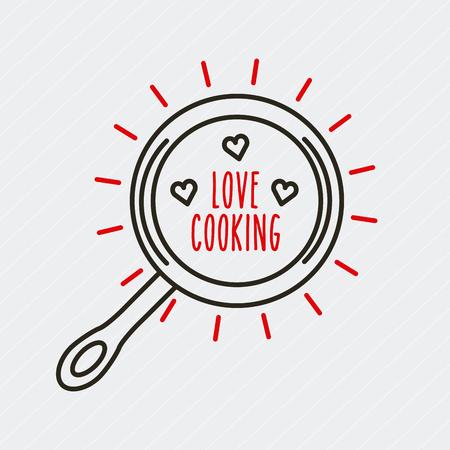 love cooking flat icon vector illustration design graphic Illustration