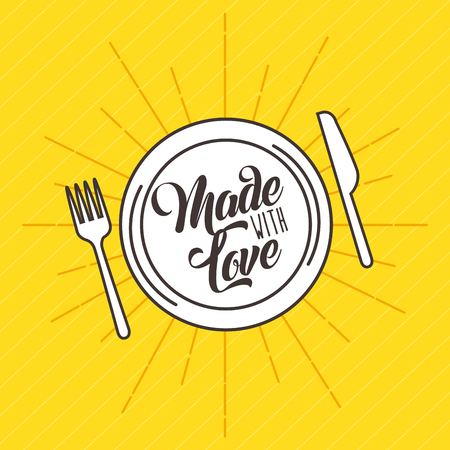 愛のアイコン ベクトル イラスト デザイン グラフィックを料理で作られました。