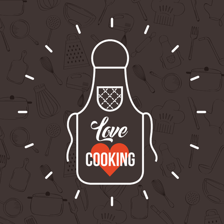 love cooking flat icon vector illustration design graphic Ilustracja