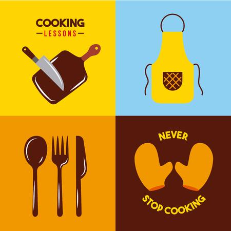 Les icônes définissent des leçons de cuisson Graphique de conception d'illustration vectorielle. Vecteurs