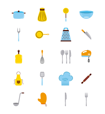 Icons set cooking lessons vector illustration design graphic.