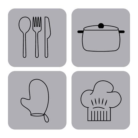 Icônes ensemble les leçons de cuisine illustration vectorielle design graphique Vecteurs