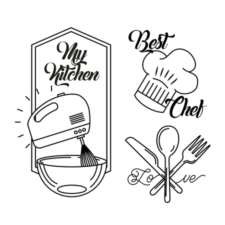 Icônes ensemble les leçons de cuisine illustration vectorielle design graphique