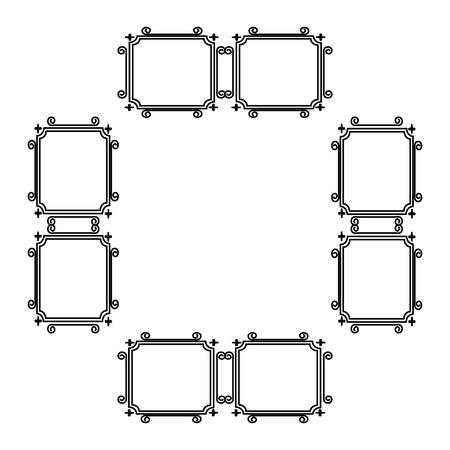 Eleganter viktorianischen Stil Rahmen Vektor-Illustration Design Standard-Bild - 80342005