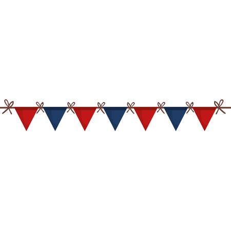united states of asmerica garlands celebration vector illustration design