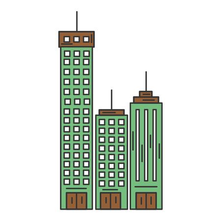 Edifici paesaggio urbano isolato icona illustrazione vettoriale di progettazione Archivio Fotografico - 80344437