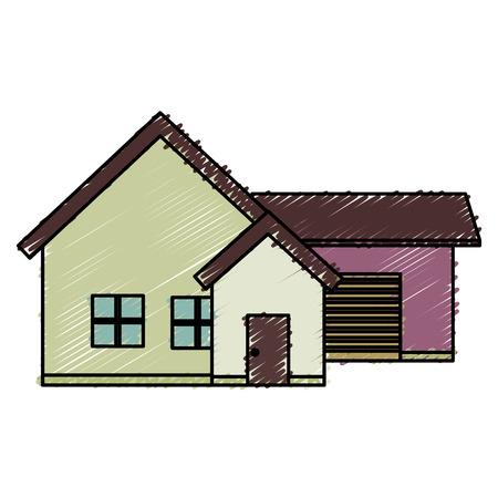 exterior house isolated icon vector illustration design Banco de Imagens